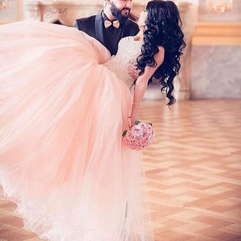 Ball Gown Sweetheart Light Pink Organza Prom Dress with Beading