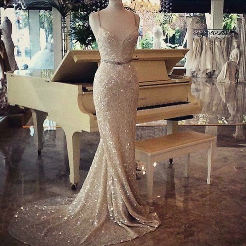 Dramatic Mermaid Spaghetti Straps Sleeveless Sash Court Train Prom Dress