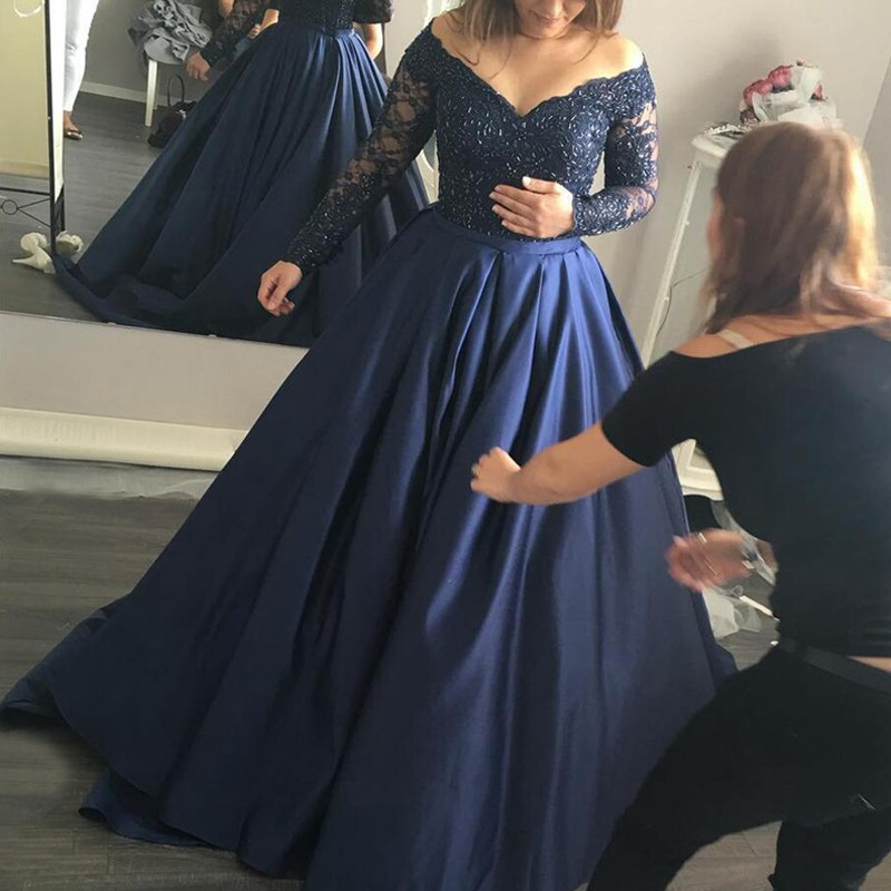 Stylish Dark Blue Prom Dress - Off Shoulder Sweep Train Long Sleeves with Beading