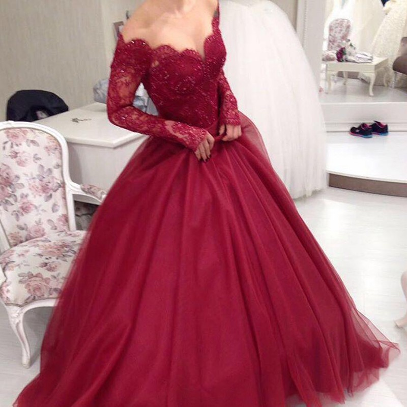 A-Line Off-the-Shoulder Long Sleeves Sweep Train Dark Red Prom Dress with Beading