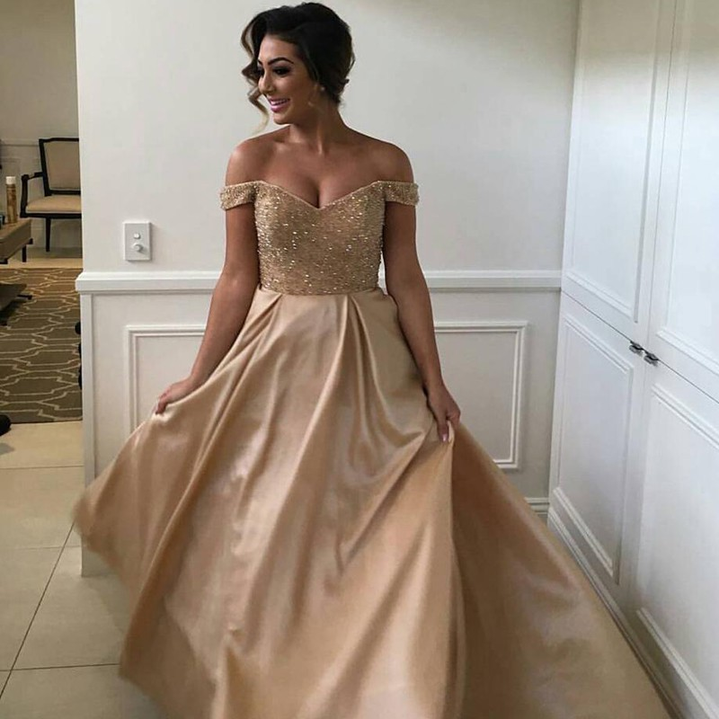 Stunning Champagne Prom Dress - Off Shoulder Sweep Train with Beading