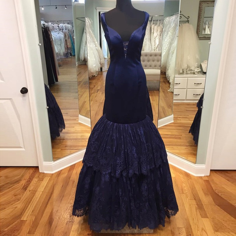Fabulous Mermaid Navy Blue Prom Dress - V-neck Floor-Length Sleeveless with Tiered Lace