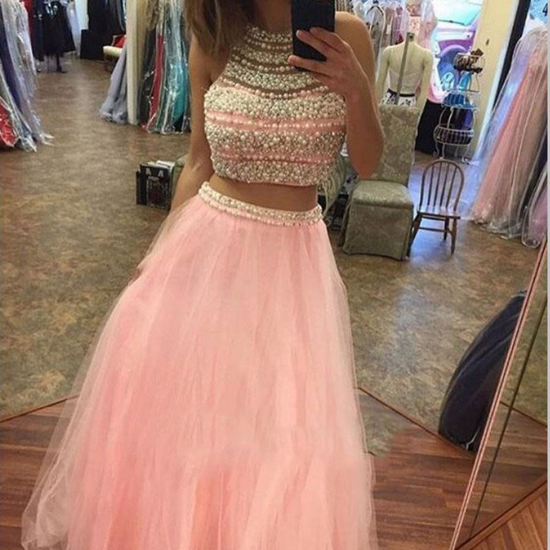 Chic Two Piece Pink Prom Dress - Jewel Floor-Length Sleeveless with Beading Pearl