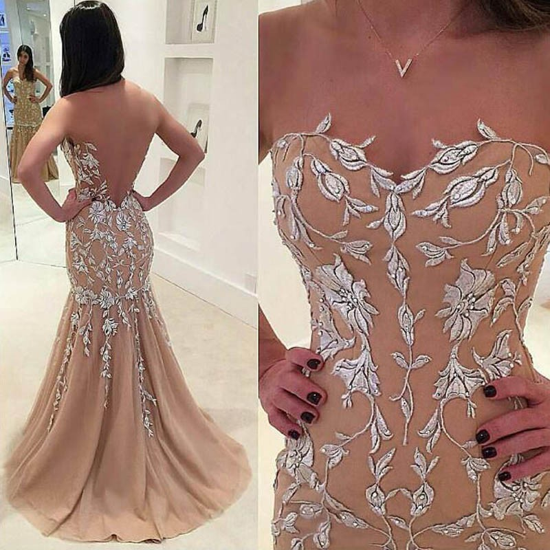 Nectarean Champagne Prom Dress - Illusion Jewel Sweep Train Illusion Back with Appliques