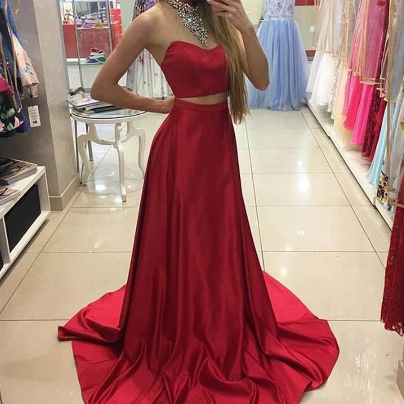 Fabulous Two Piece Red Prom Dress - Halter Sleeveless Sweep Train with Beading