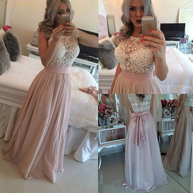 Glamorous Pearl Pink Prom Dress - Jewel Sleeveless Floor-Length with Pearls Bowknot