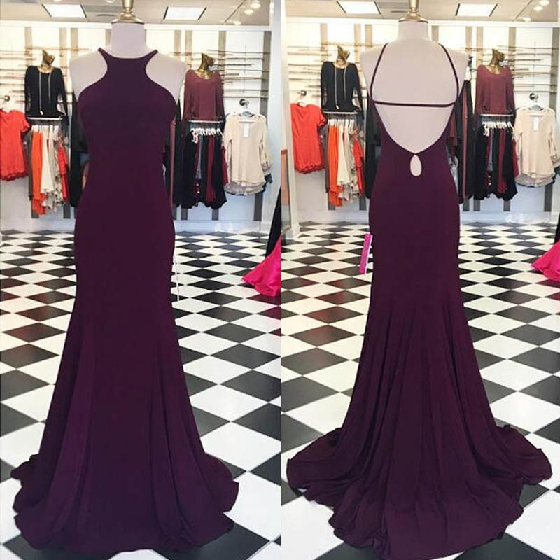 Sexy Grape Prom Dress - Jewel Sleevelesss Backless with Sweep Train