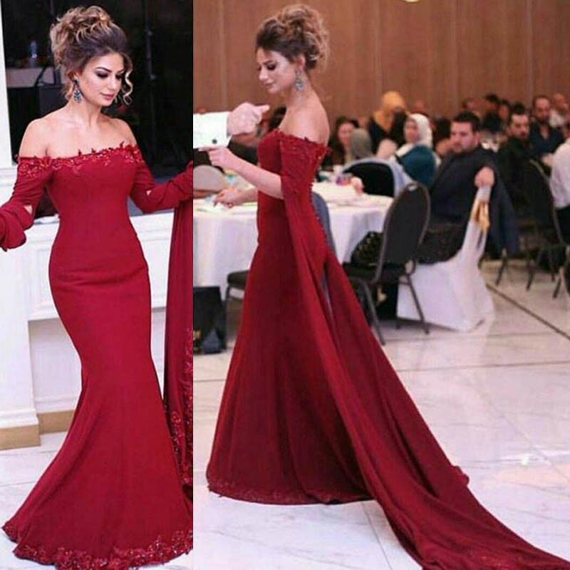 Special Red Mermaid Prom Dress - Off Shoulder Sweep Train with Appliques Beading