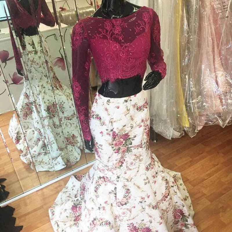 Stylish 2 Piece White Mermaid Prom Dress - Lace Top Long Sleeves Beading Printed Flowers