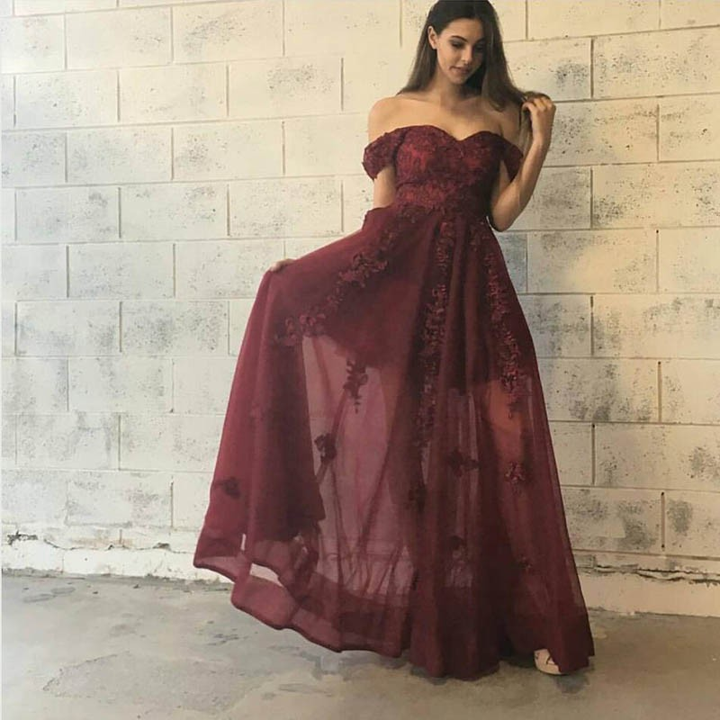Stylish Burgundy Prom Dress - Off-the-Shoulder Floor-Length with Lace Appliques