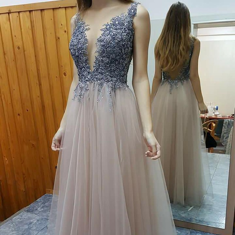 Stylish A-line Prom Dress - Deep V-neck Floor-Length Beading Backless