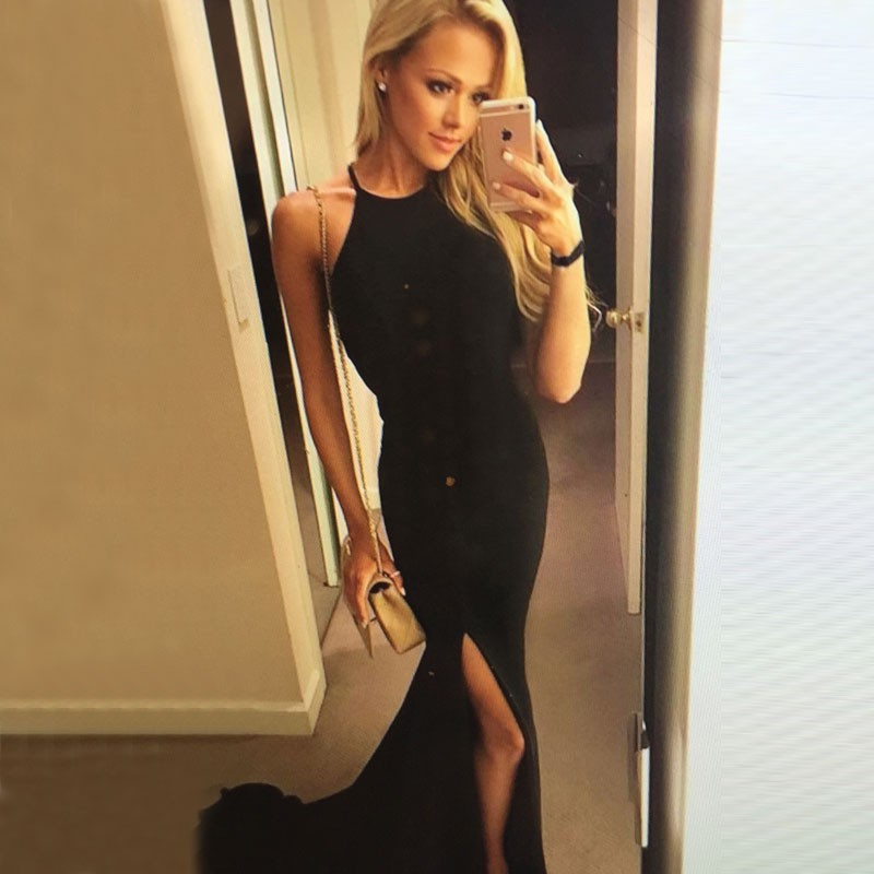 Sexy Black Prom Dress - Mermaid Halter Sweep Train with Slit