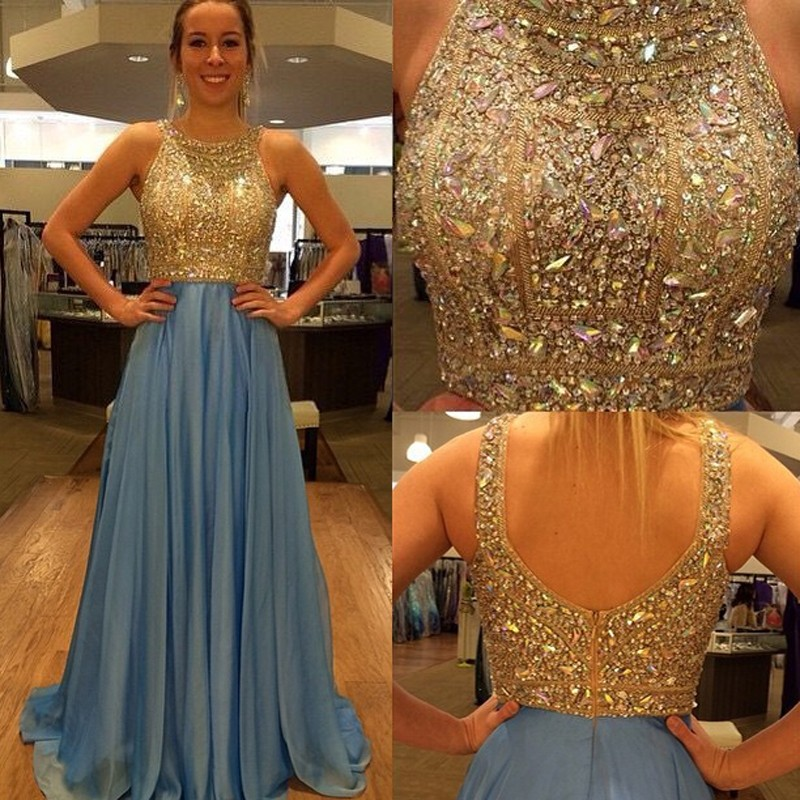 Chic A Line Prom Dress - Jewel Sleeveless Long Pleated with Beading