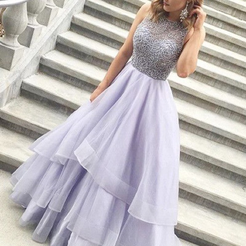 A-line Beading Jewel Sleeveless Floor-length Lavender Prom Dress