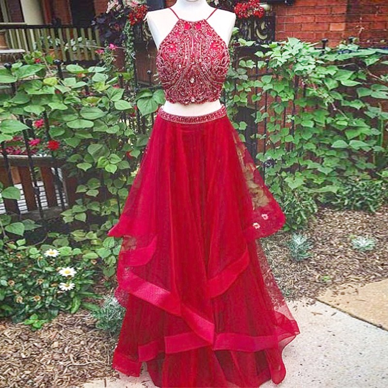 Two Piece Red Beading Jewel Sleeveless Floor-length Prom Dress