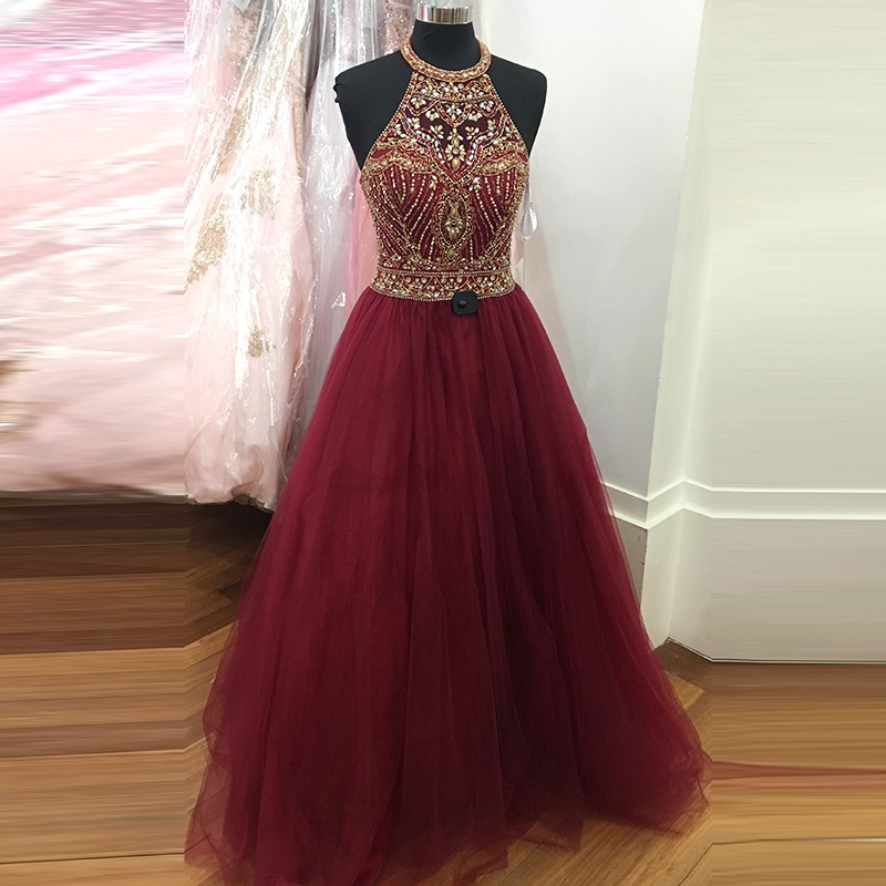 Burgundy A-line Beading Jewel Sleeveless Sweep Train Prom Dress