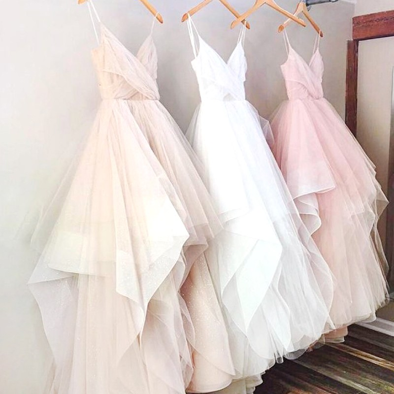 Pink/White Spaghetti Straps Sleeveless Asymmetry Tulle Prom Dress