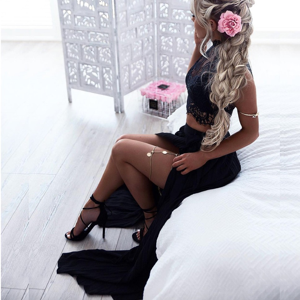 Two Piece High Neck Long Split Black Chiffon Prom Dress with Lace