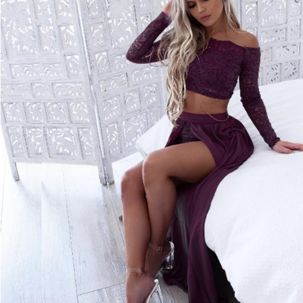 Two Piece Off-the-Shoulder Long Sleeves Grape Prom Dress with Lace Split