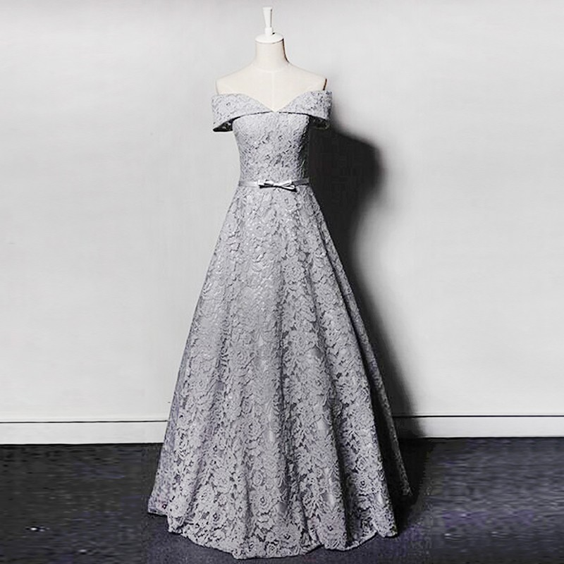 A-line Off-the-Shoulder Lace-up Floor-Length Grey Lace Prom Dress with Bowknot
