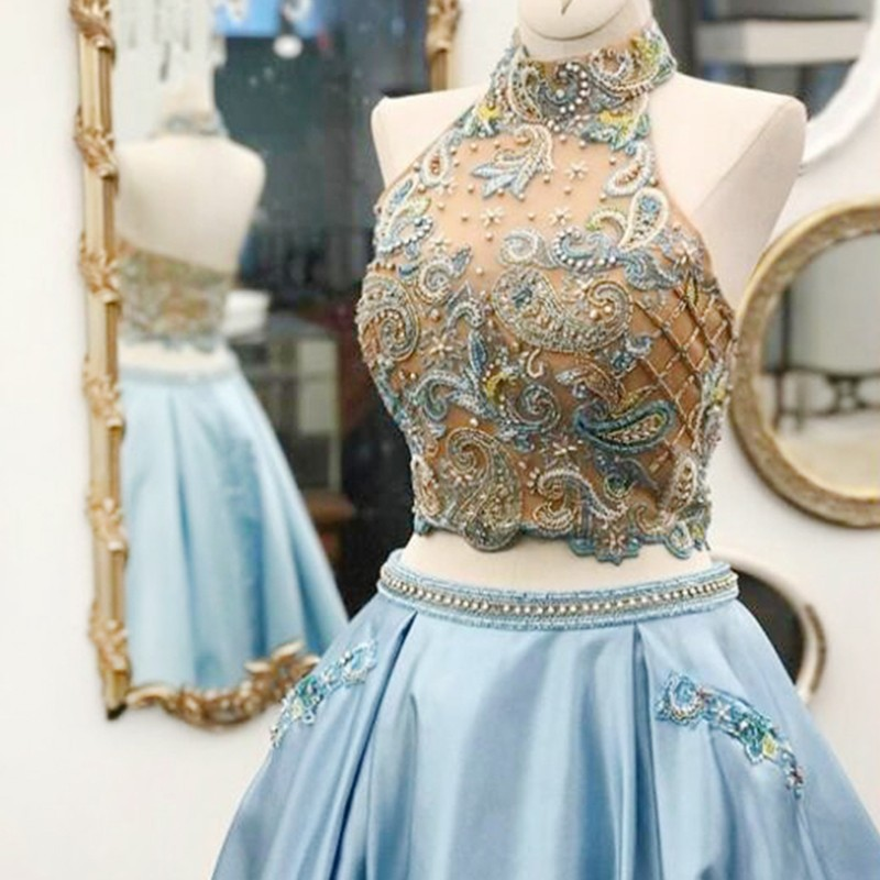 Two Piece Halter Blue Floor-Length Prom Dress with Beading Appliques Pockets
