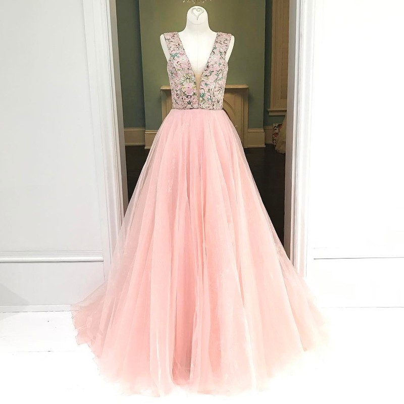 Pink A-line Deep V-neck Floor-Length Prom Dress Printed Flowers with Beading