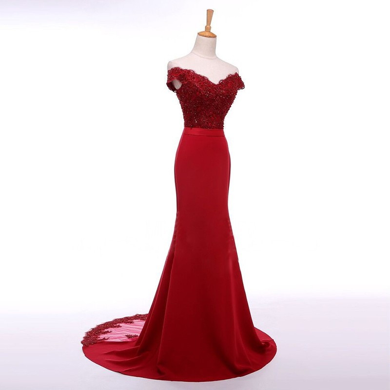 Mermaid Style Off-the-Shoulder Sweep Train Red Prom Dress with Sash Beading Lace