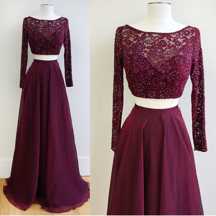 Burgundy Two Piece Bateau Long Sleeves Floor-Length Prom Dress with Beading Lace