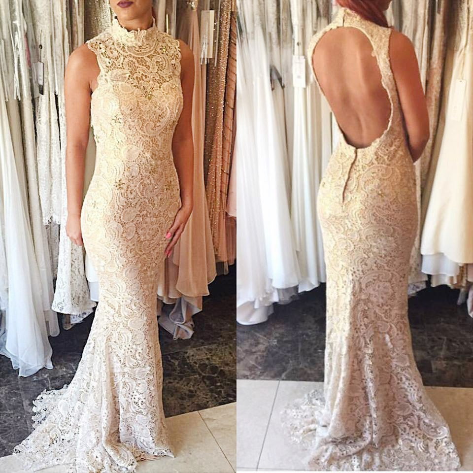 Mermaid Style Ivory Lace High Neck Sweep Train Open Back Prom Dress