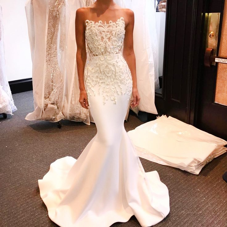 Mermaid Style Illusion Bateau Long White Prom Dress with Beading Appliques