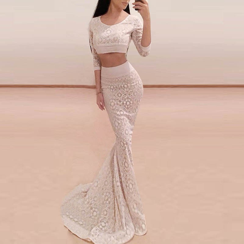 Two Piece Mermaid 3/4 Sleeves Scoop Long Ivory Lace Prom Dress