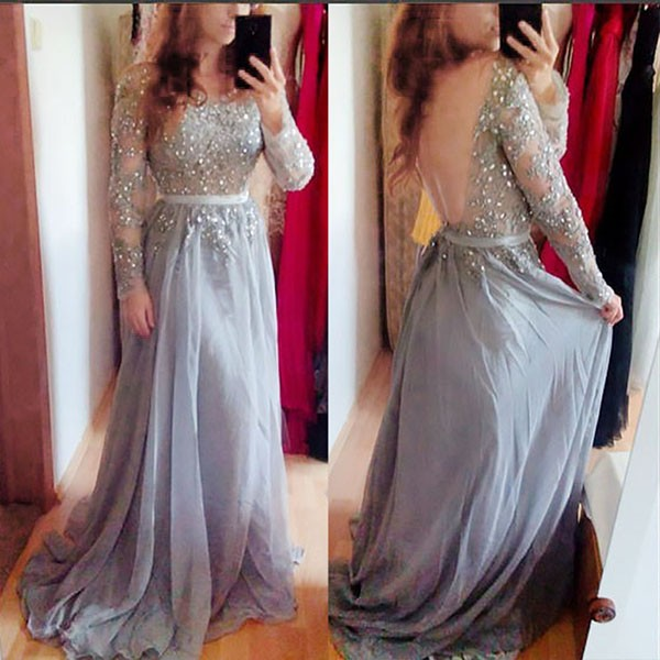 Light Grey Backless Long Sleeves Bateau Prom Dress with Sash Beading Appliques