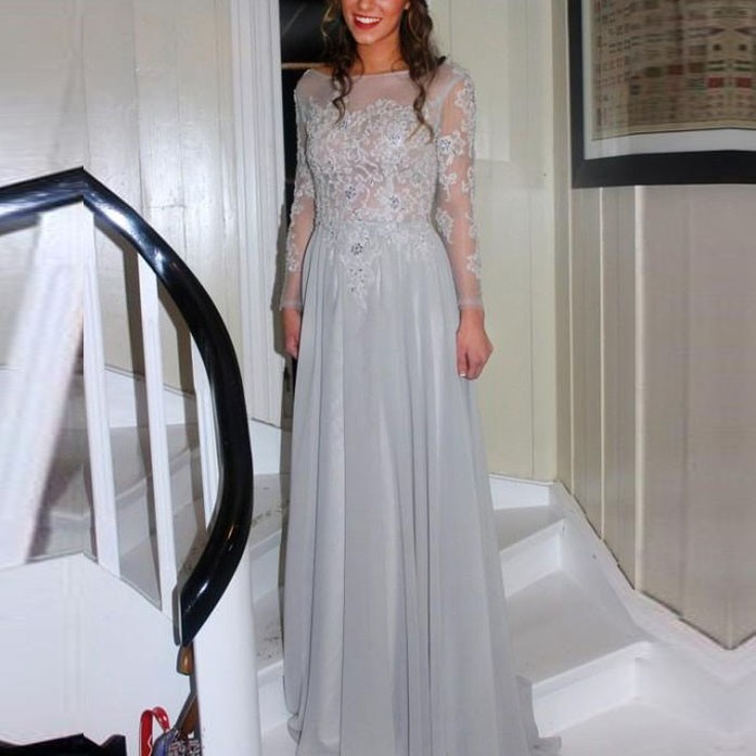 Light Grey Backless Floor-Length Long Sleeves Prom Dress with Beading
