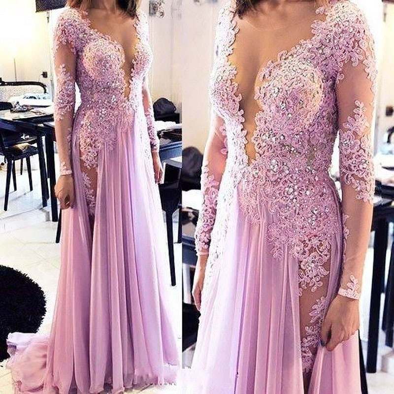Long Prom Dress - Illusion Bateau Long Sleeves with Beading Appliques