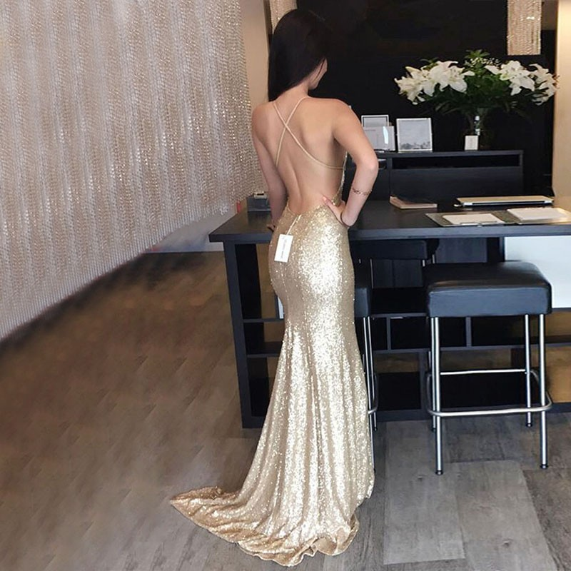 Mermaid Style Sequined Prom Dress - Backless V-neck Sweep Train Gold