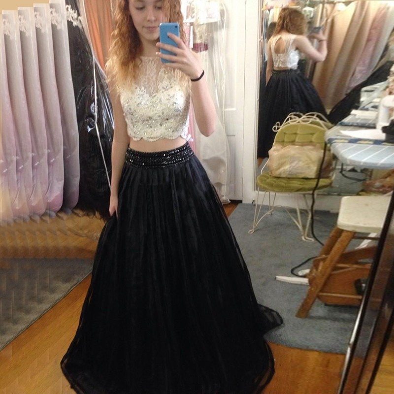 Two Piece Black Prom Dress - Open Back Jewel Long with Lace Beading