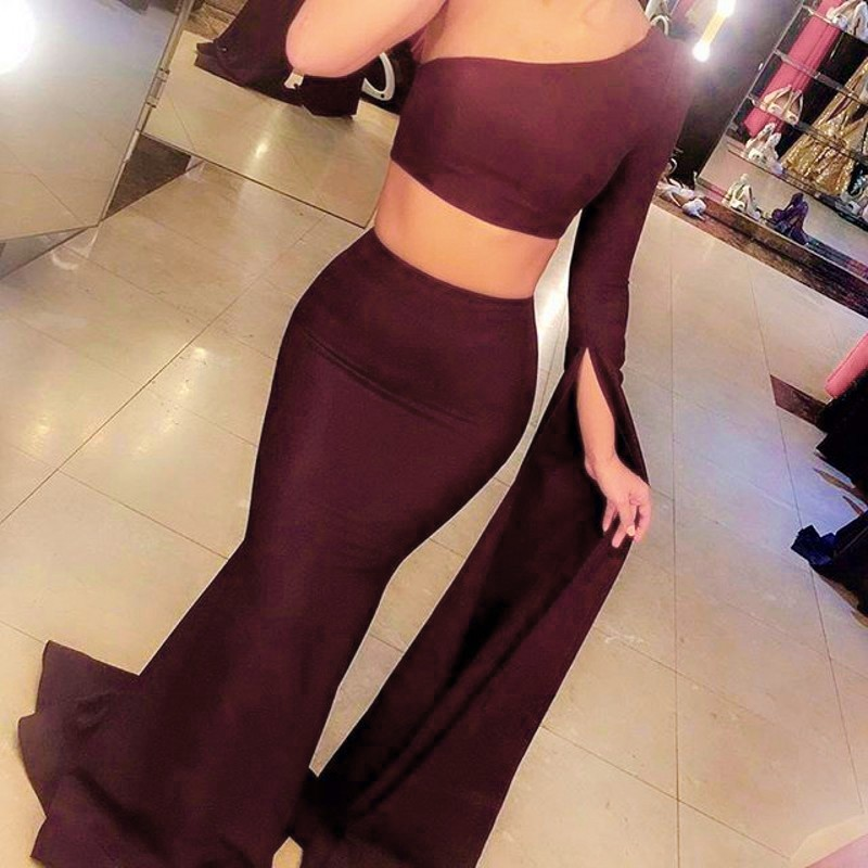 Two Piece Mermaid Style Prom Dress - One Shoulder Sweep Train Long Sleeves