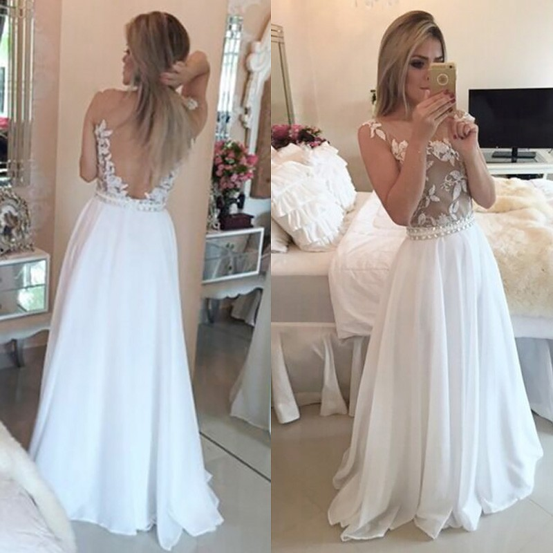 A-line White Prom Dress - Scoop Backless Sweep Train with Beading Appliques