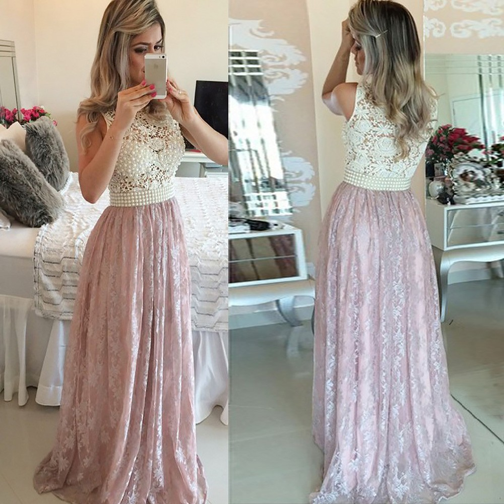 Lace Prom Dress - Jewel Sleeveless Floor-Length with Pearls