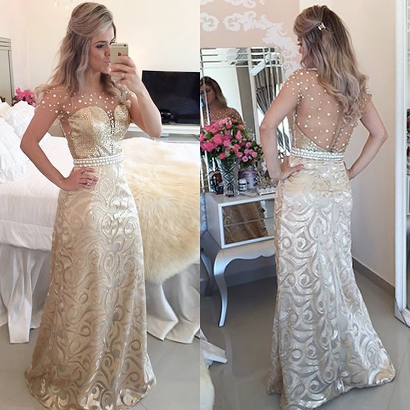 Sheath Prom Dress - Lace Illusion Back Floor-Length with Pearls