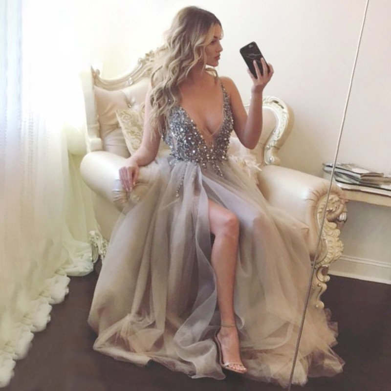 A-Line Deep V-neck Backless Grey Tulle Prom Dress with Beading Split