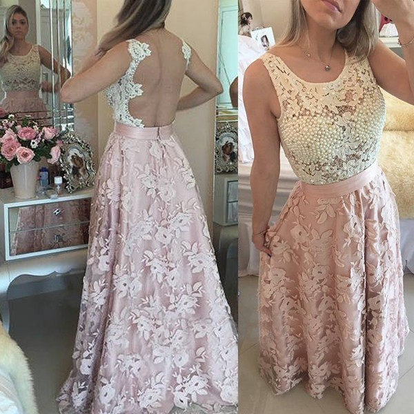 A-Line Jewel Long Illusion Back Pink Lace Prom Dress with Pearls