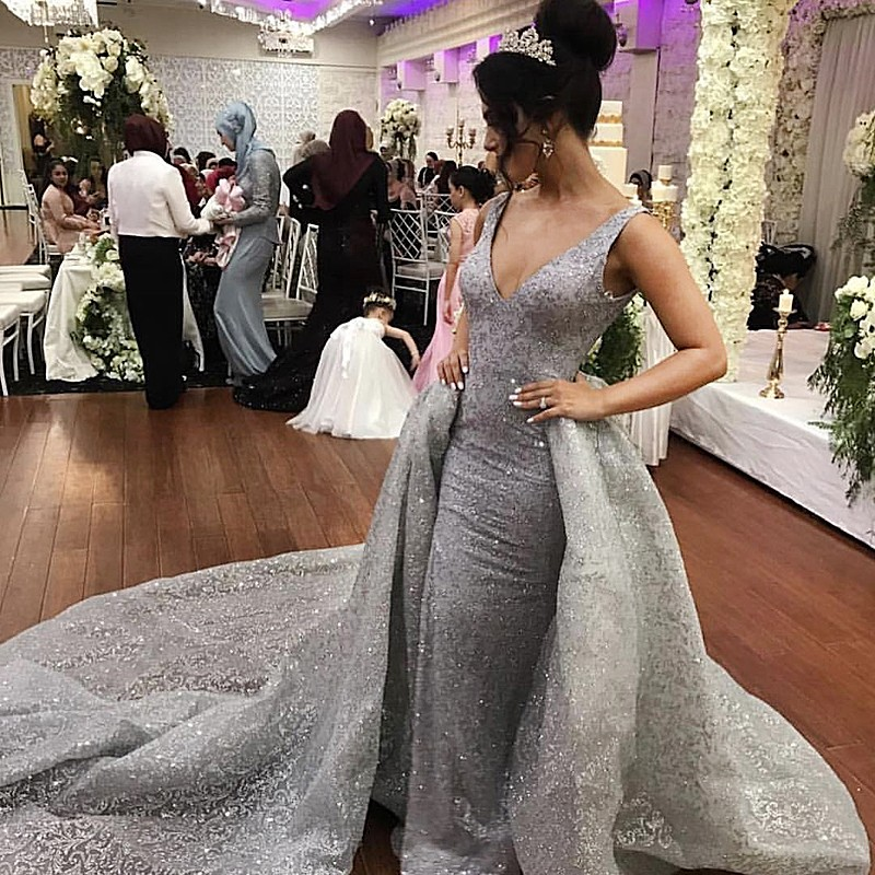 A-Line V-Neck Court Train Backless Grey Lace Prom Evening Dress with Beading