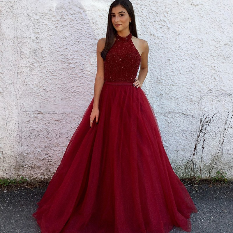A-Line Halter Long Backless Burgundy Tulle Prom Dress with Beading