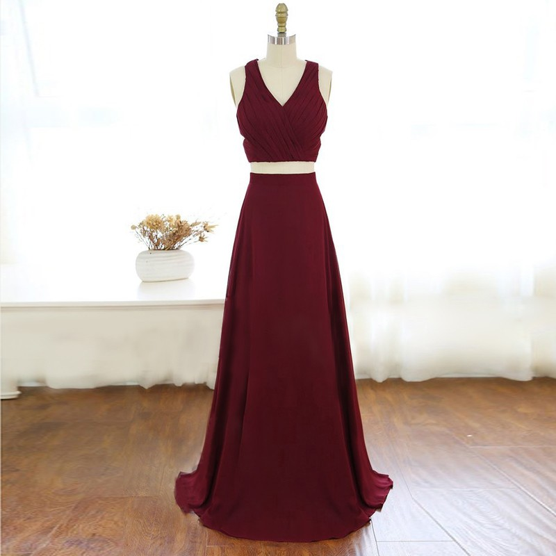 Two Piece V-Neck Criss-Cross Straps Long Burgundy Chiffon Prom Dress