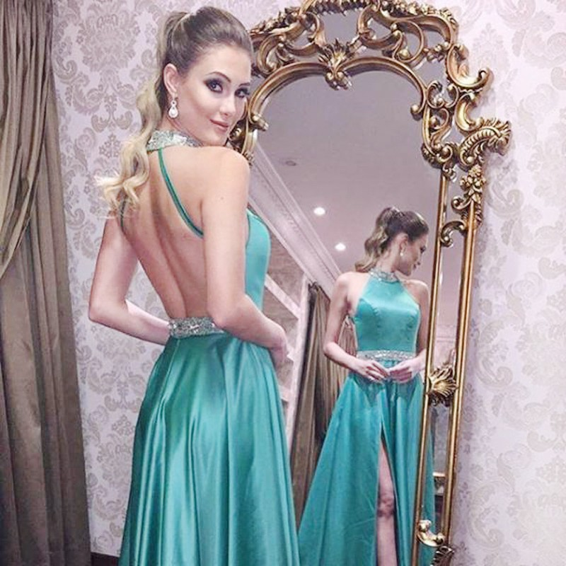 A-Line High Neck Backless Long Turquoise Satin Prom Dress with Beading Split
