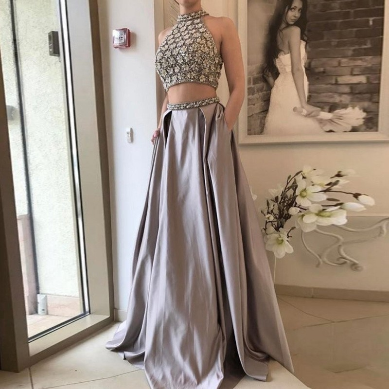 Two Piece High Neck Grey Satin Prom Dress with Beading Pleats Pockets