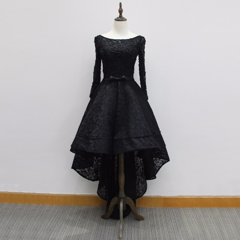 High Low Bateau Long Sleeves Black Lace Prom Dress with Beading Bowknot