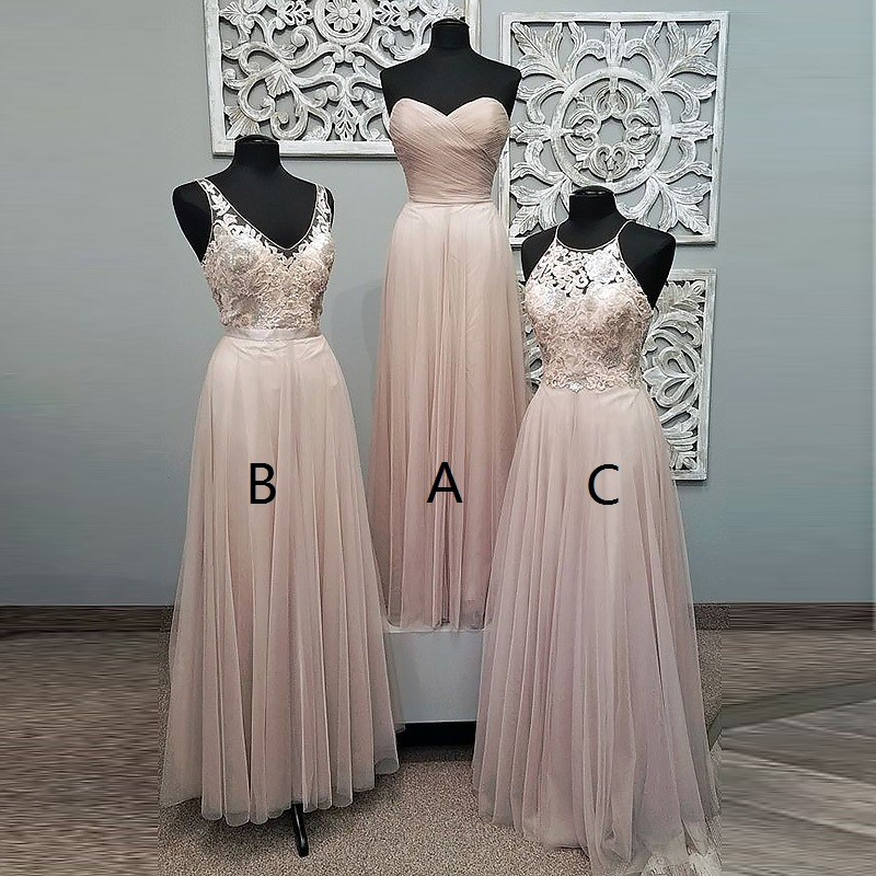 A-Line Sweetheart Floor-Length Pearl Pink Tulle Prom Dress