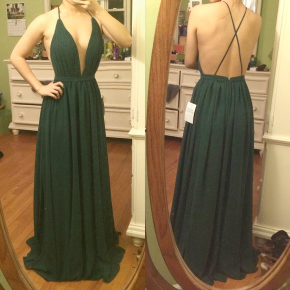 A-Line Deep V-Neck Backless Dark Green Chiffon Prom Dress with Pleats